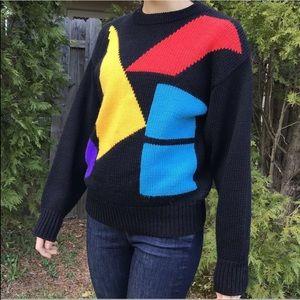 Vintage Wool Knit Sweater Geometric 80s Rainbow